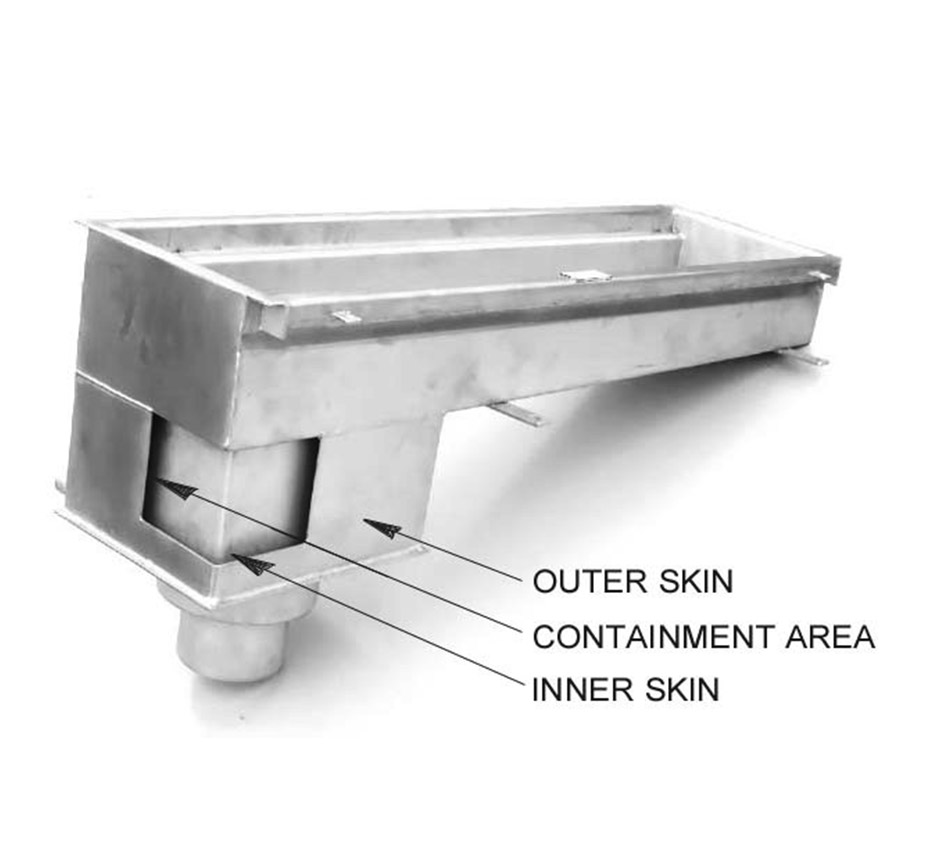 Model of Kents double contained drain channel and its parts