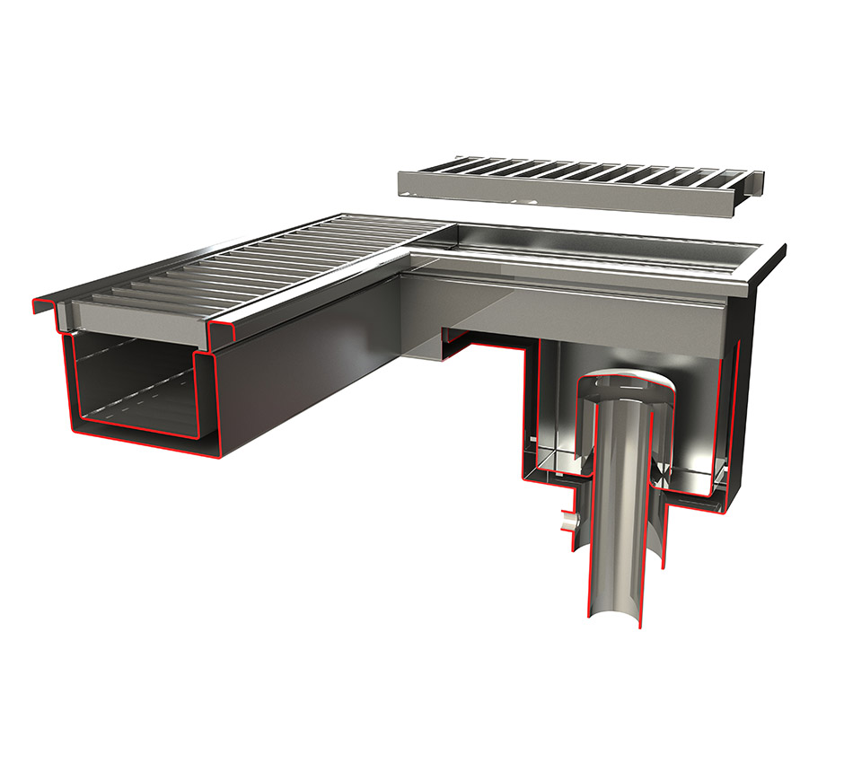3D Model of Kents double contained drain channel