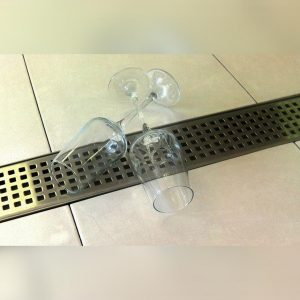 Close up of Kents linear shower drain