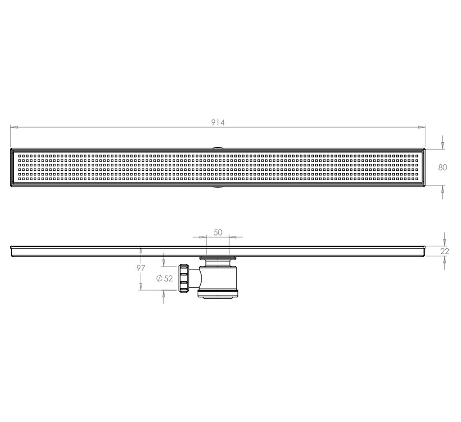 Line drawing and dimensions of Kents linear shower drain
