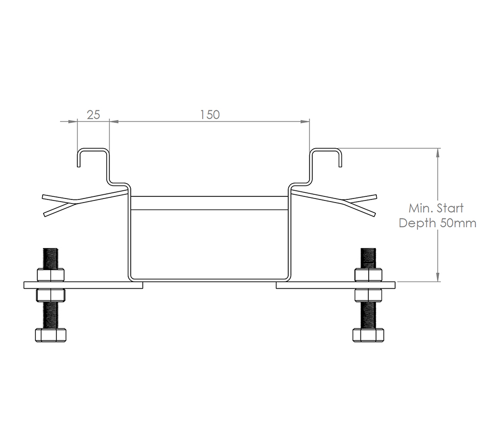 Line drawing of Kents standard box drain channel