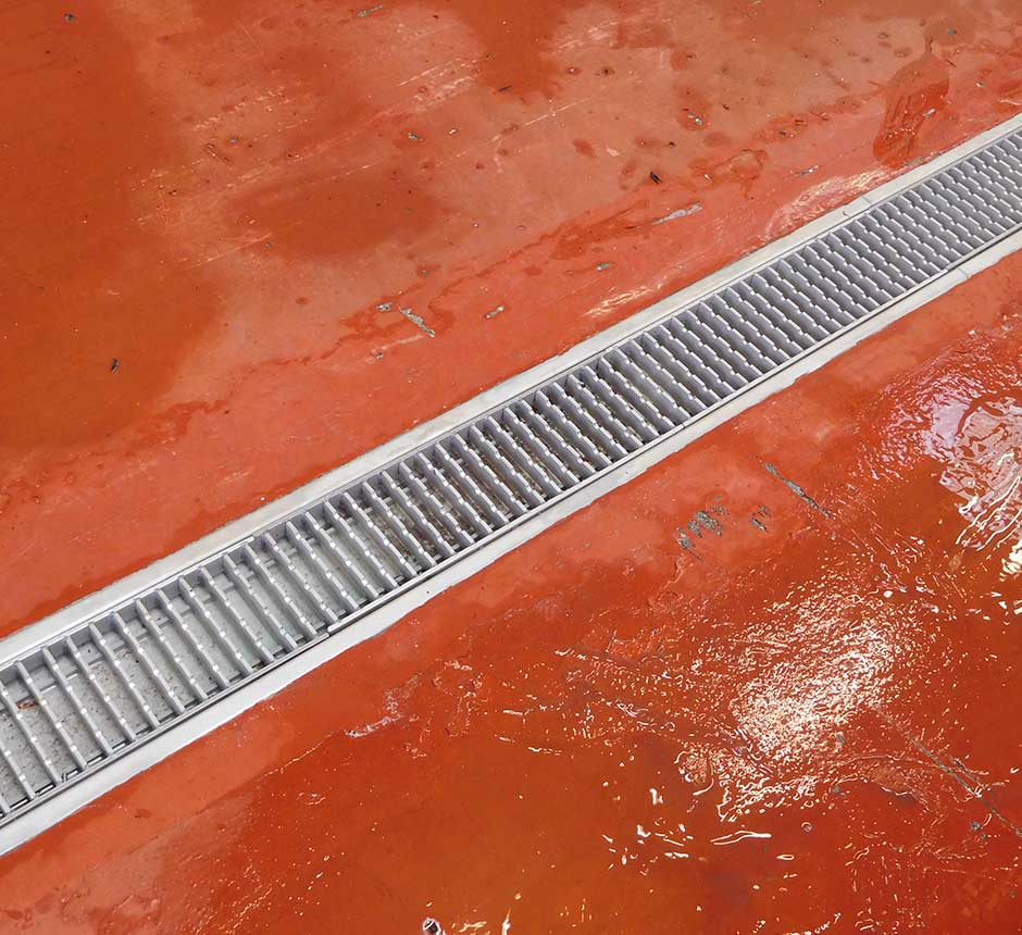 Kent's standard box drain channel being used