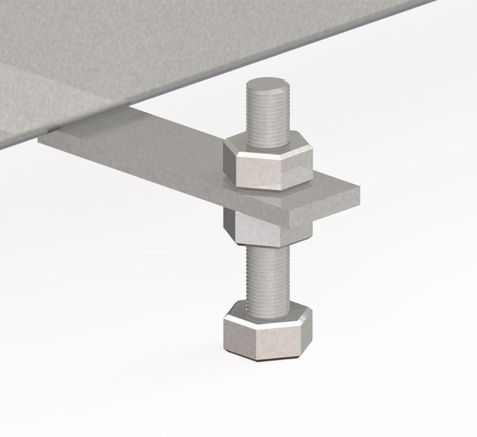 Model of built in screws in a standard box drain channel