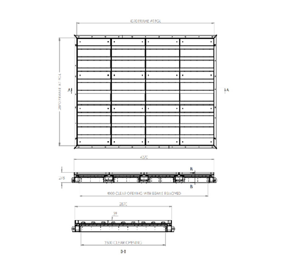Line drawing of Kent's Multi Tray Fire Rated Access Cover