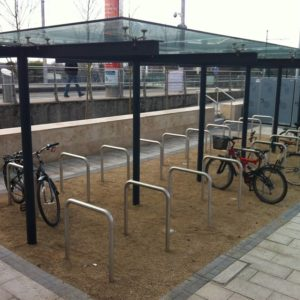 Kents anti terrorism double sided bicycle shelter in Dundrum