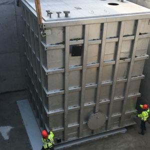 Kent's Atmospheric Storage Tank being lifted