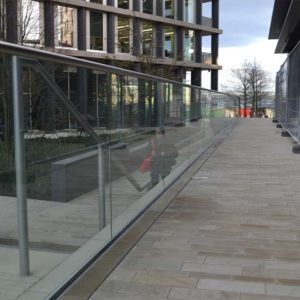 Kents glazed stainless steel balustrade for pedestrian areas
