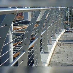 Close up of Kents light rail balustrade curved on a rail bridge
