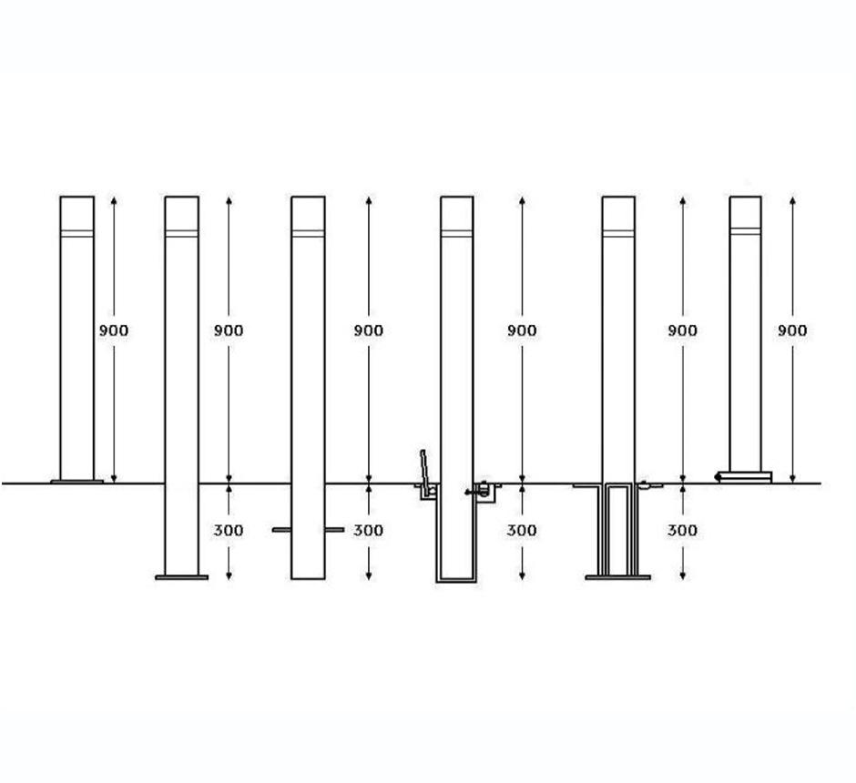 Drawing and dimensions of Kents Wembley bollard