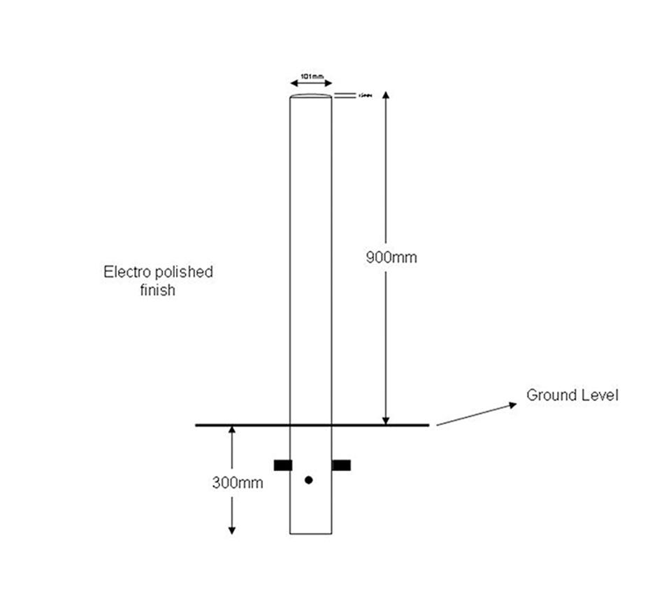 Line drawing of Kents flat top bollard