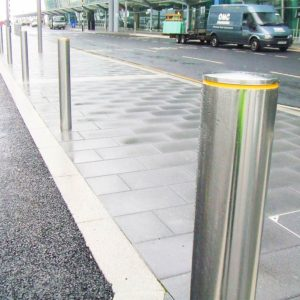 A row of Kents bollards outside an airport terminal