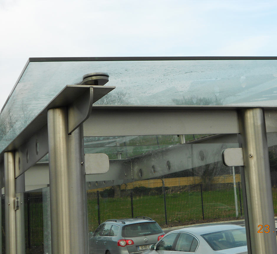 Close up of Kents stainless steel Carrickmines waiting shelter