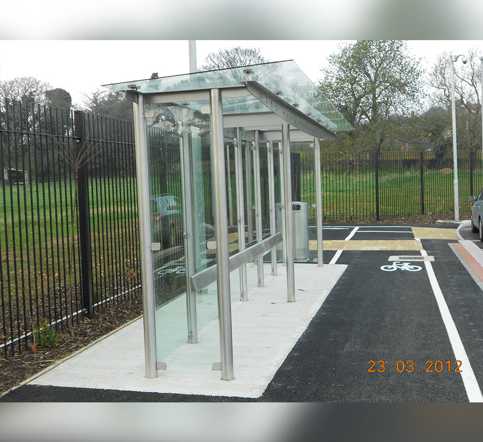 Side view of Carrickmines waiting shelter
