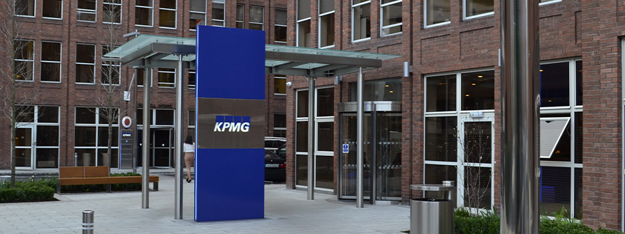 Stainless steel entrance totem by KPMG