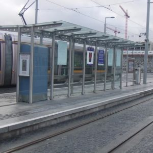Kents stainless steel double sided tram shelter