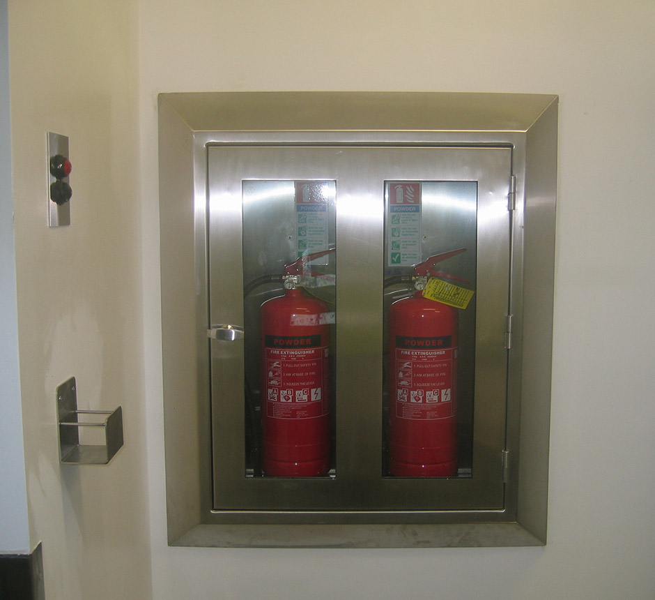 Kent's Fire Extinguisher Cabinets in use