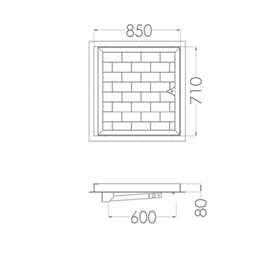 Line drawing of Kent's Hinged Solo Paver
