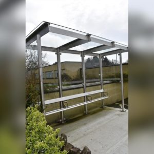 Close up of Kent's stainless steel bus shelter in Kilkenny
