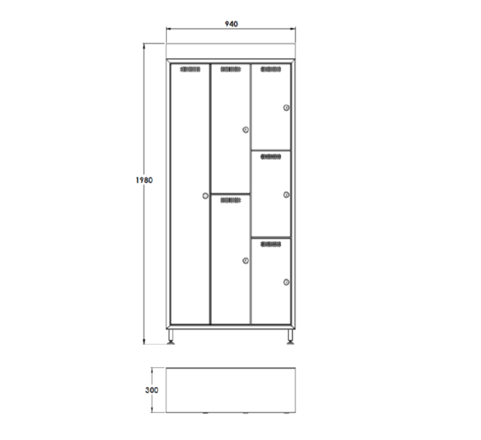 Line drawing of Kent's Locker Cabinets