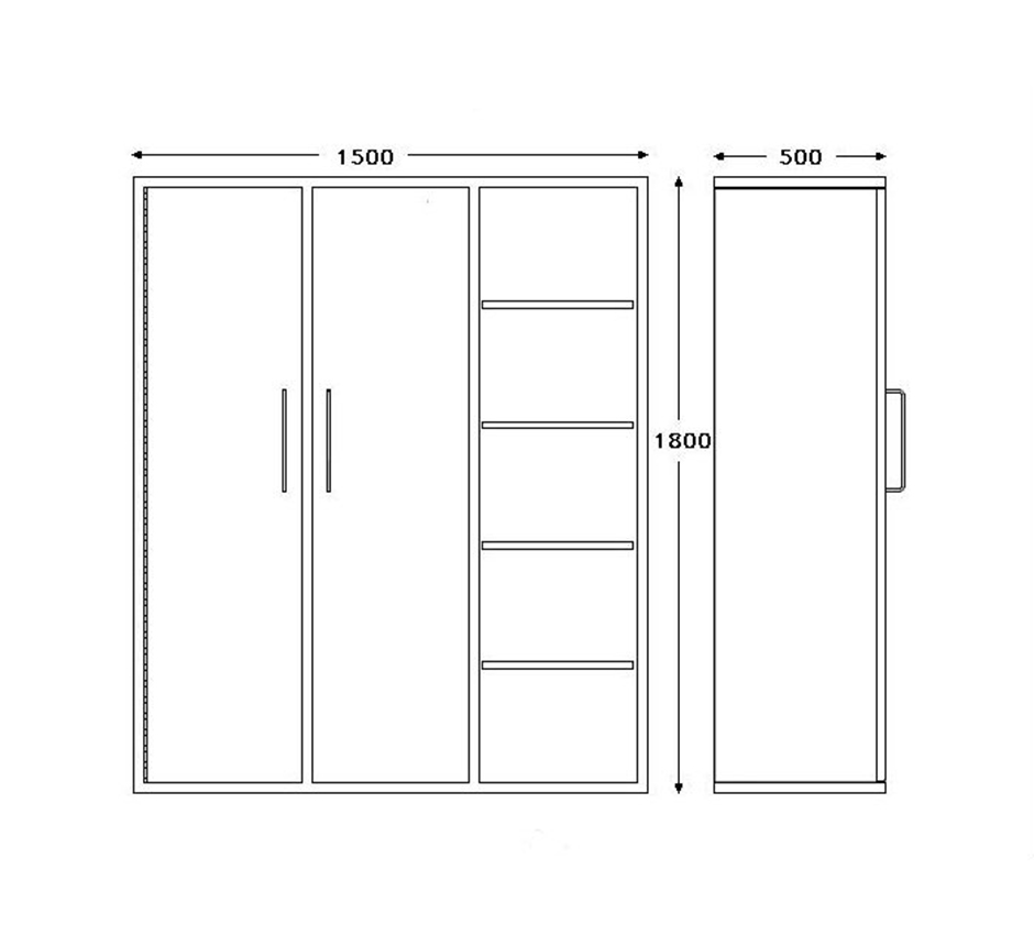 Line drawing of Kent's Recessed Gowning Cabinets