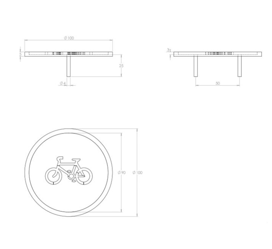 Line drawing and dimensions of Kents Road Demarcation Stud