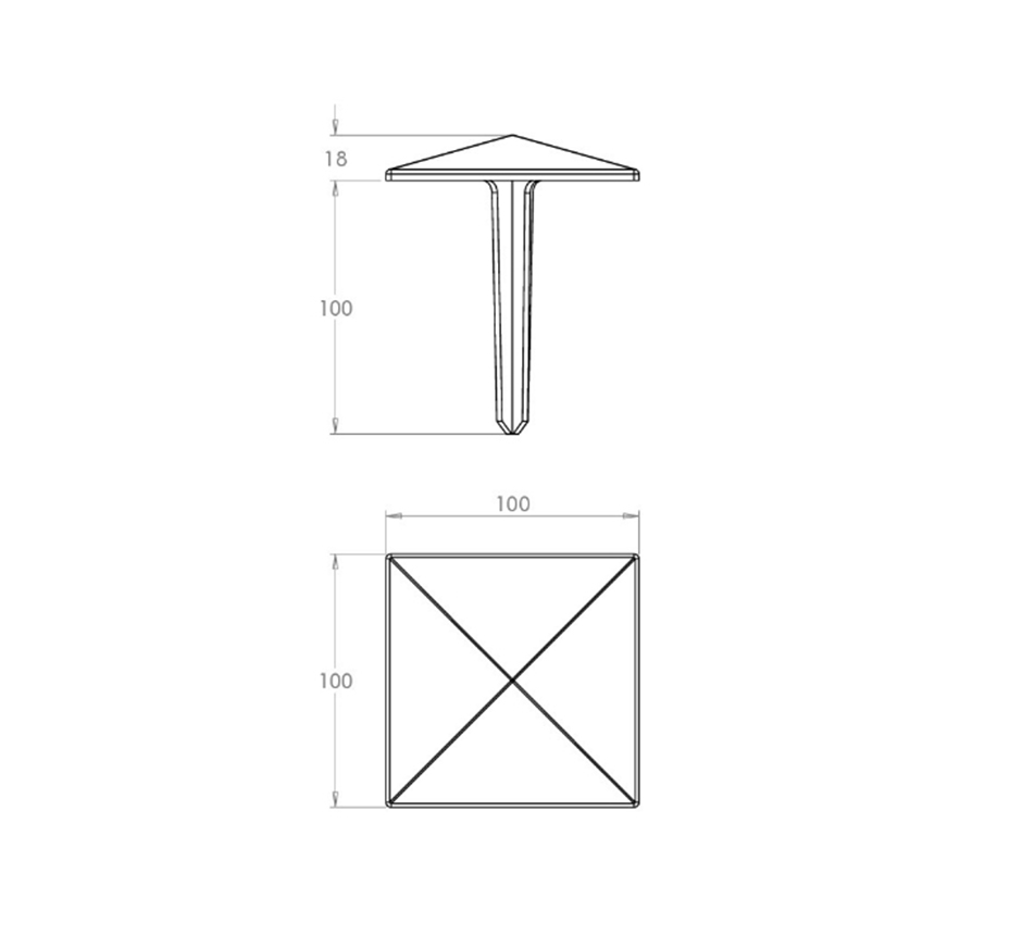 stainless-steel-road-demarcation-studs-line-drawing-KPRDS100