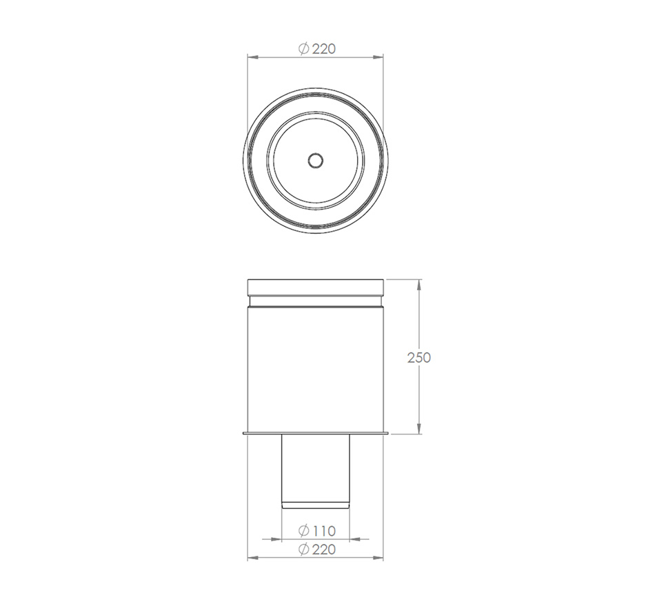 Line drawing of Round Body Round Top Bottom Outlet by Kent