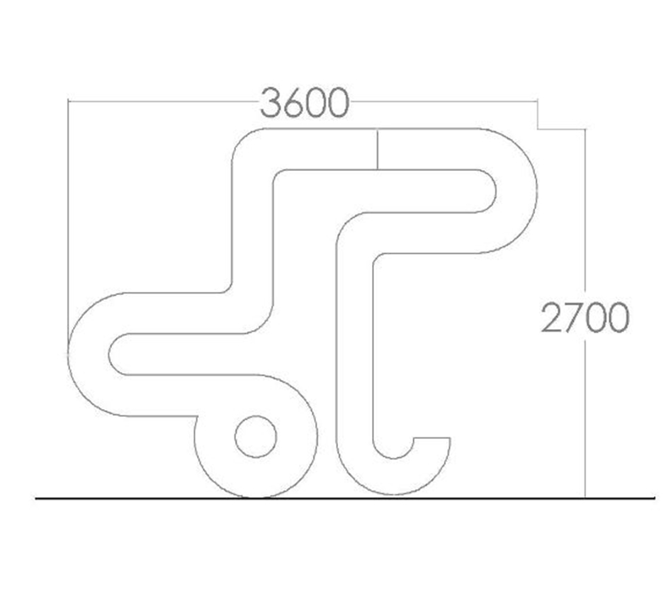 Drawing and dimensions of UCD Joie de vivre sculpture