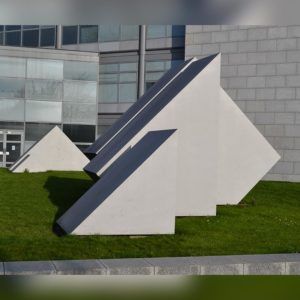 Close up of custom made sculpture outside RTE headquarters