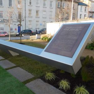 Side angle view of 1916 rising sculpture