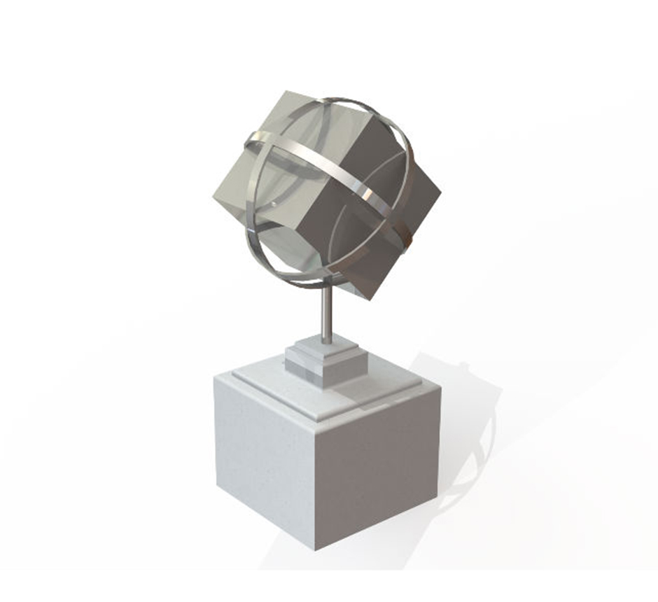 CAD drawing of Kents stainless steel cube sculpture.