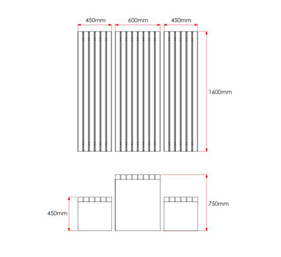 Drawing and dimensions of Kents Greenwich Picnic Set