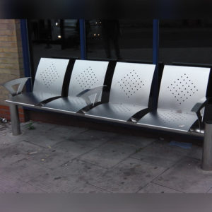 Perforated design four person steel seat