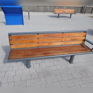 wooden bench with vandal resistant stainless steel frame