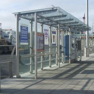 Kents stainless steel single sided tram shelter