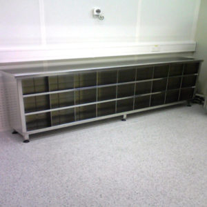 Kent's Step Over Bench Shoe Storage in use