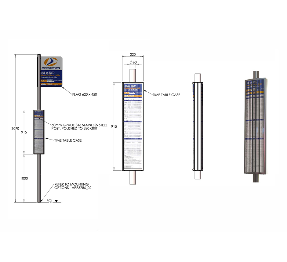 Drawing dimensions for Kents bus pole