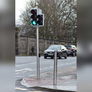Side angle street view of Kents traffic light pole