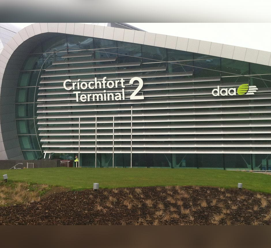 The outside of Dublin airport terminal 2