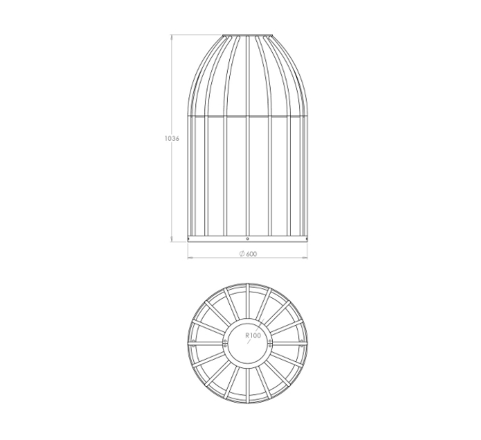 Bird cage tree guard drawing & dimensions