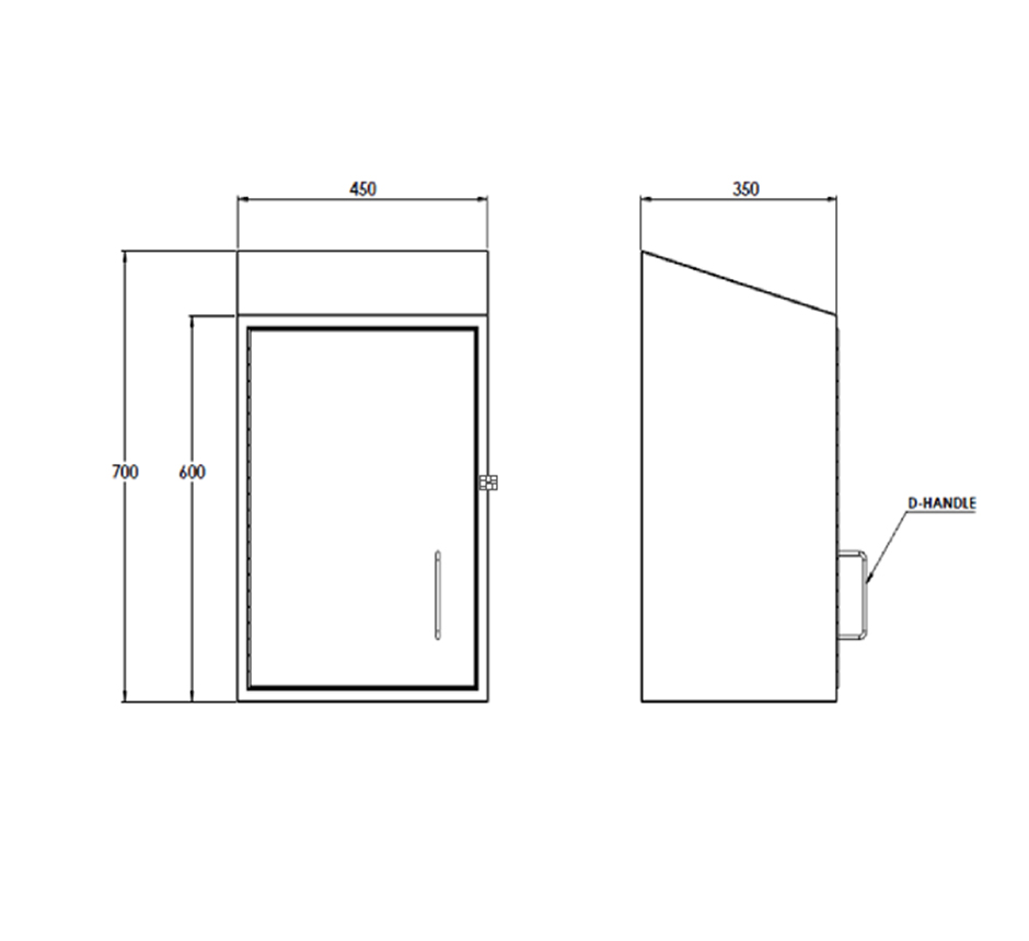 Line drawing of Kent's Wall Mounted Utensil Storage Cabinet