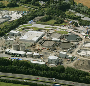 Aerial view of waste water treatment plant