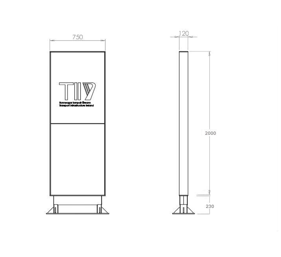 Drawing and dimensions of Kents parkgate entrance totem