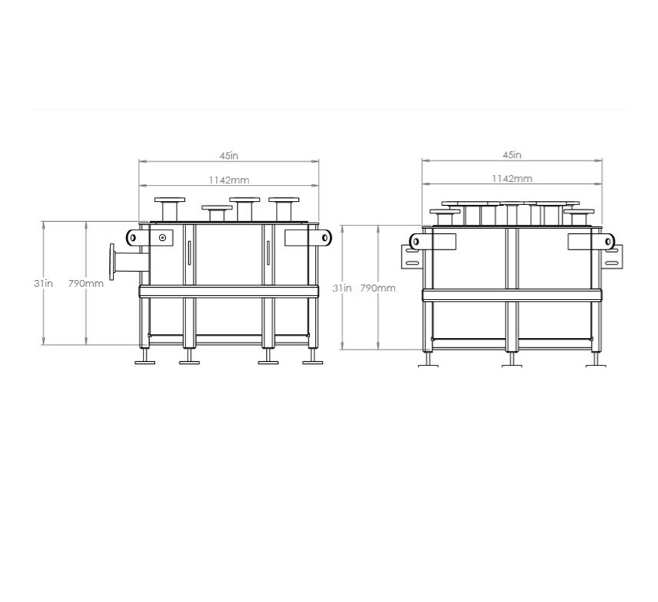 Line drawing of Kent's Zoned Process Waste Tank