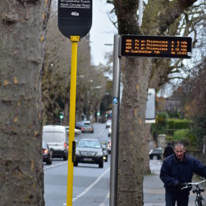 Street view of Kent's Bus RTPI Pole