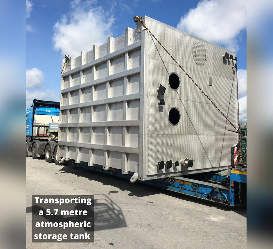 Transporting a 5.7 metre atmospheric storage tank