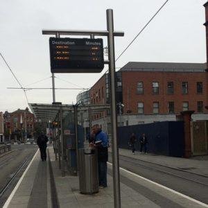 Street view of Kent's Light Rail RTPI Pole