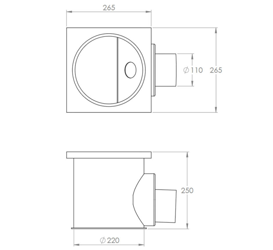 """stainless-steel-cleanroom-gully-with-foul-air-trap-line-drawing-KHCR2654""""-SQ"""