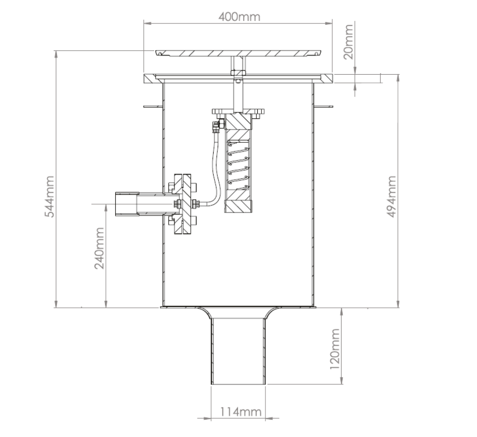 """stainless-steel-pneumatic-industrial-gully-line-drawing-1-KHCRP400-4""""RD"""