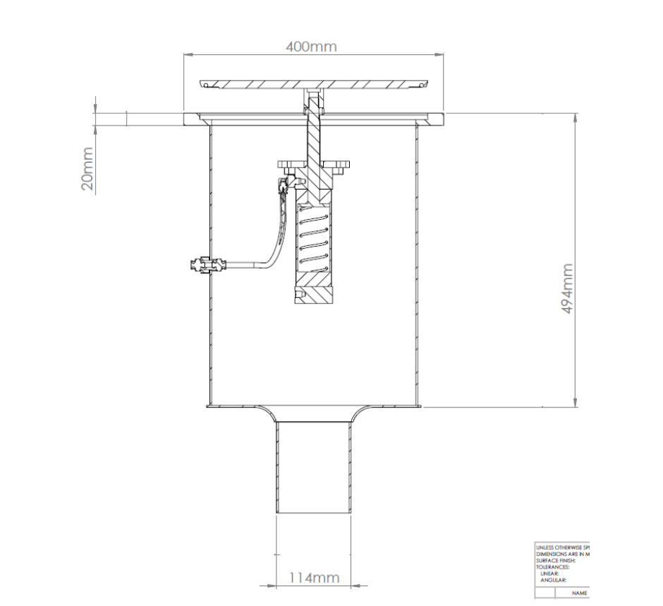 """stainless-steel-pneumatic-industrial-gully-line-drawing-KVCRP400-4""""RD(U)"""